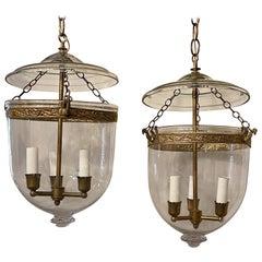 Vintage Pair of Clear Glass Bell Jar Lanterns Bronze 3-Light Vaughan Fixtures