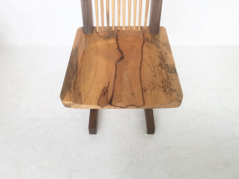 Vintage Pair of Conoid Chairs, after George Nakashima In Good Condition For Sale In Dallas, TX