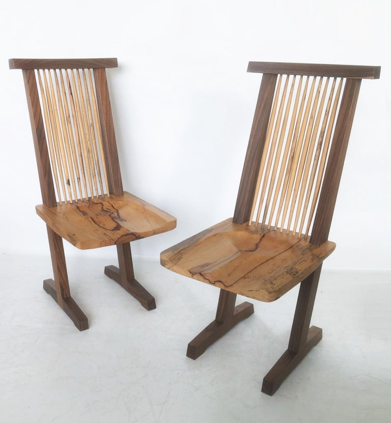 Wood Vintage Pair of Conoid Chairs, after George Nakashima For Sale