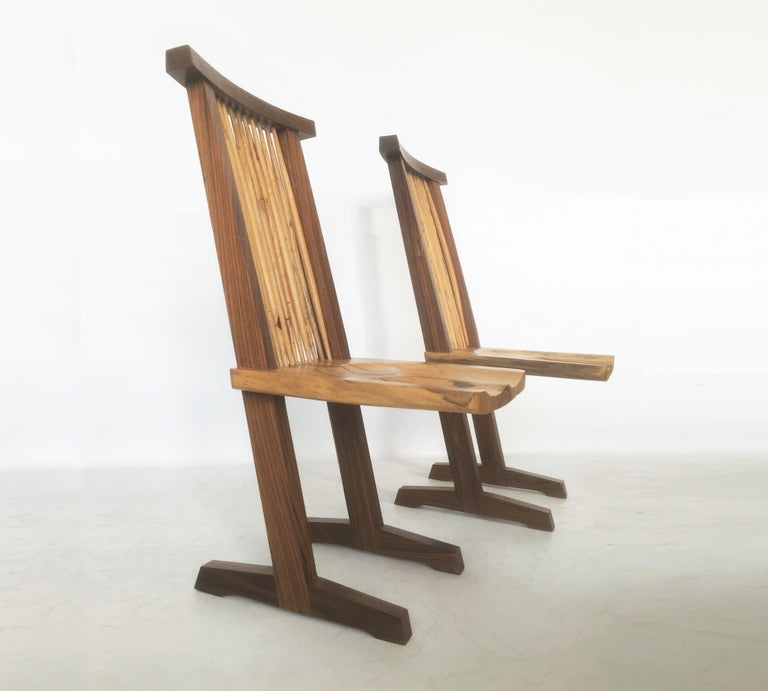 Vintage Pair of Conoid Chairs, after George Nakashima For Sale 2