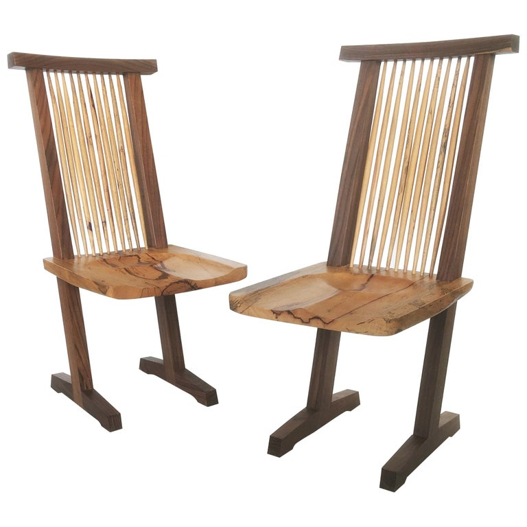 Vintage Pair of Conoid Chairs, after George Nakashima For Sale