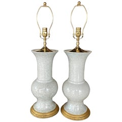 Vintage Pair of Crackle Glaze Ceramic Table Lamps Brass Palm Beach Breakers