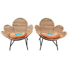 Vintage Pair of Daisy Design Woven Jute Chairs