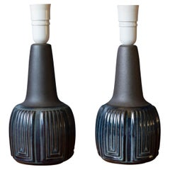 Vintage Pair of Danish Blue Ceramic Lamps by Einar Johansen for Søholm Stentøj