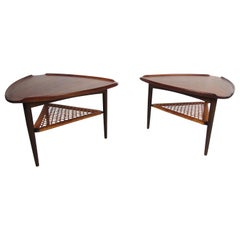 Vintage Pair of Danish Guitar Pick Tiered Cane Side Tables Poul Jensen Selig