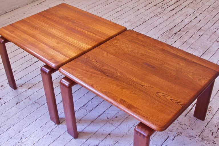 Late 20th Century Vintage Pair of Danish Modern Side Tables in Teak, Denmark, 1970s For Sale