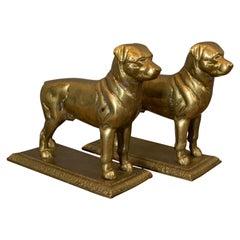Vintage Pair of Decorative Dogs, Gilt Metal, Rottweiler, Doorstops, Fireside