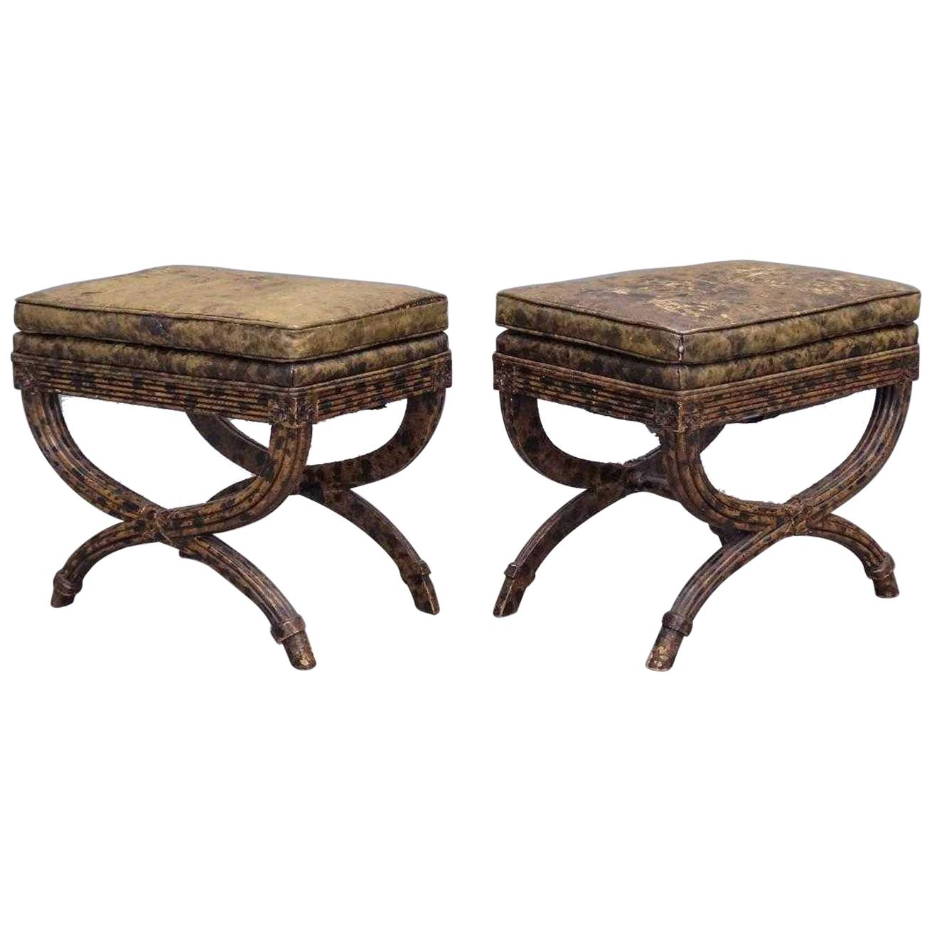 Vintage Pair of Decorative Neoclassical Curule Stools