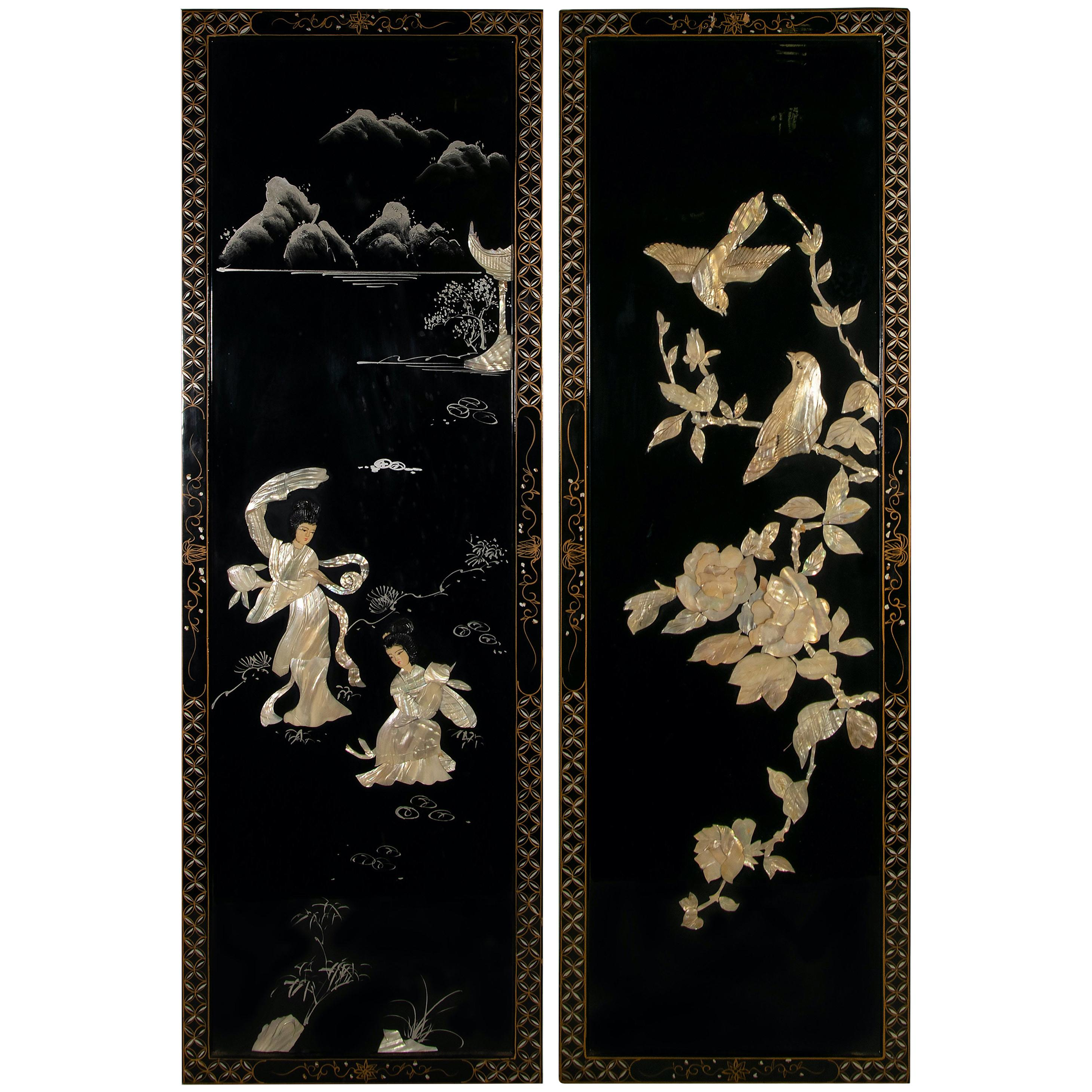 Vintage Pair of Decorative Panels, China, 20th Century