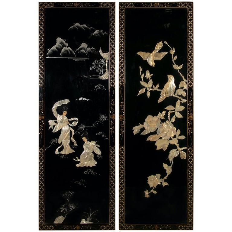 Vintage Pair of Decorative Panels, China, 20th Century