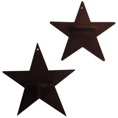 Vintage Pair of Decorative Wood Star Shelves