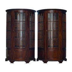 Vintage Pair of Demilune Display Cabinets, Mahogany, Bow-Front, Glazed