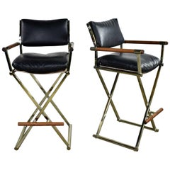 Vintage Pair of Directors Chair Style Bar Stools Brass Plate Oak and Black Vinyl