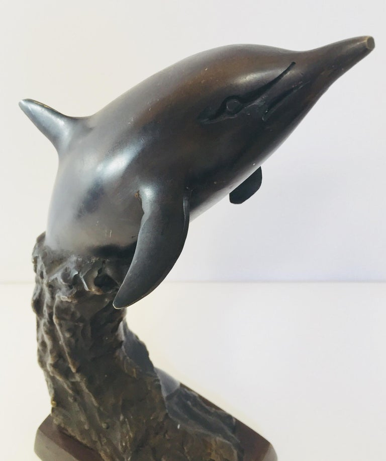Vintage Pair of Dolphins Bronze Bookends For Sale 3