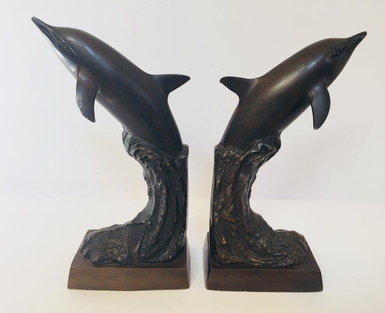 Modern Vintage Pair of Dolphins Bronze Bookends For Sale