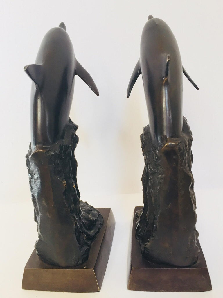 American Vintage Pair of Dolphins Bronze Bookends For Sale