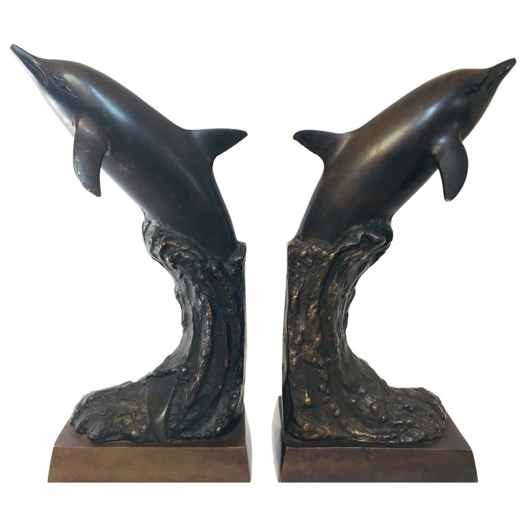 Vintage Pair of Dolphins Bronze Bookends For Sale