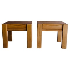 Vintage Pair of Elm Bedside Tables from France, Circa 1960