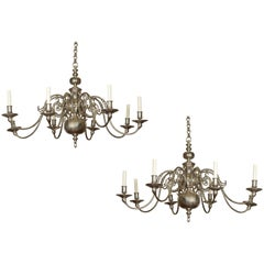Vintage Pair of English Silver Plated Eight-Light Chandeliers, circa 1950