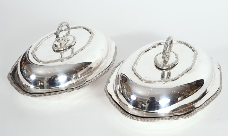 Vintage Pair of English Silver Plated Tableware Dishes or Server For Sale 6