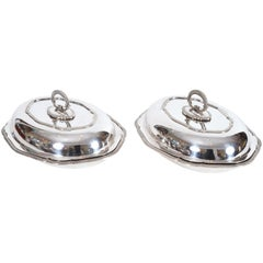 Vintage Pair of English Silver Plated Tableware Dishes or Server