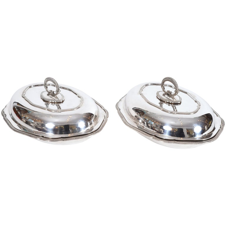 Vintage Pair of English Silver Plated Tableware Dishes or Server For Sale