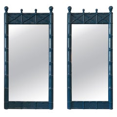 Vintage Pair of Faux Bamboo Chinese Chippendale Blue Lacquered Wall Mirrors