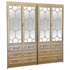 Vintage Pair of Faux Bamboo Chinese Chippendale Mirror Cabinets Shelves Drawers