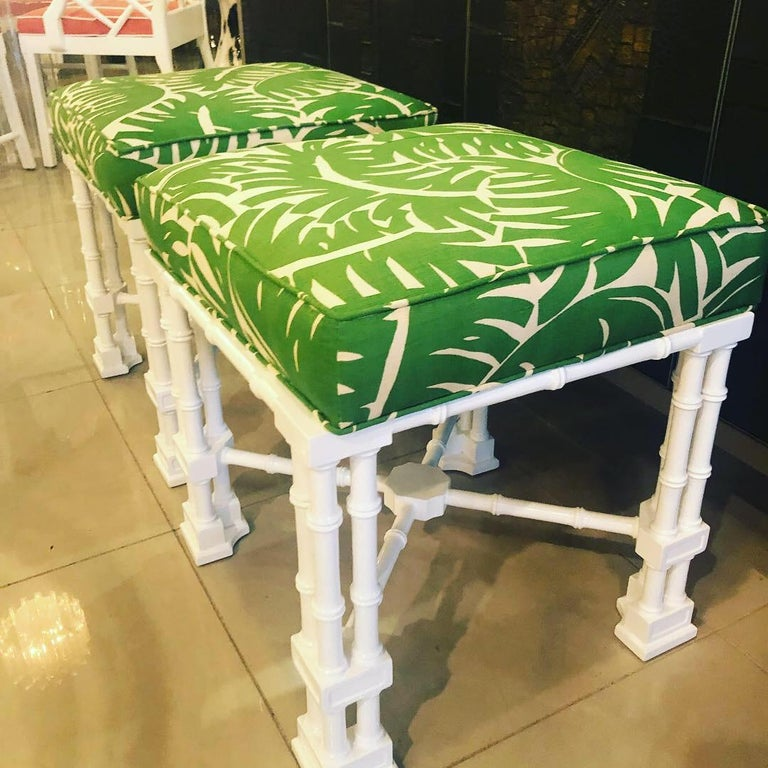 Vintage Pair of Faux Bamboo White Lacquered Palm Tree Upholstered Stools Benches 6