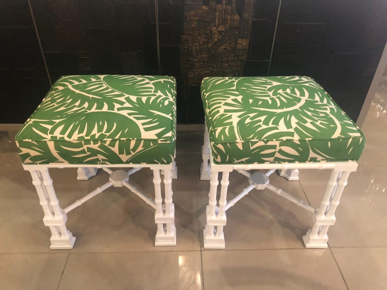 Hollywood Regency Vintage Pair of Faux Bamboo White Lacquered Palm Tree Upholstered Stools Benches
