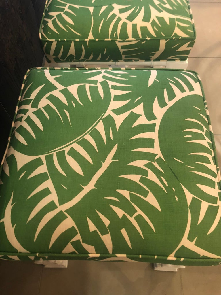 Vintage Pair of Faux Bamboo White Lacquered Palm Tree Upholstered Stools Benches In Good Condition In West Palm Beach, FL