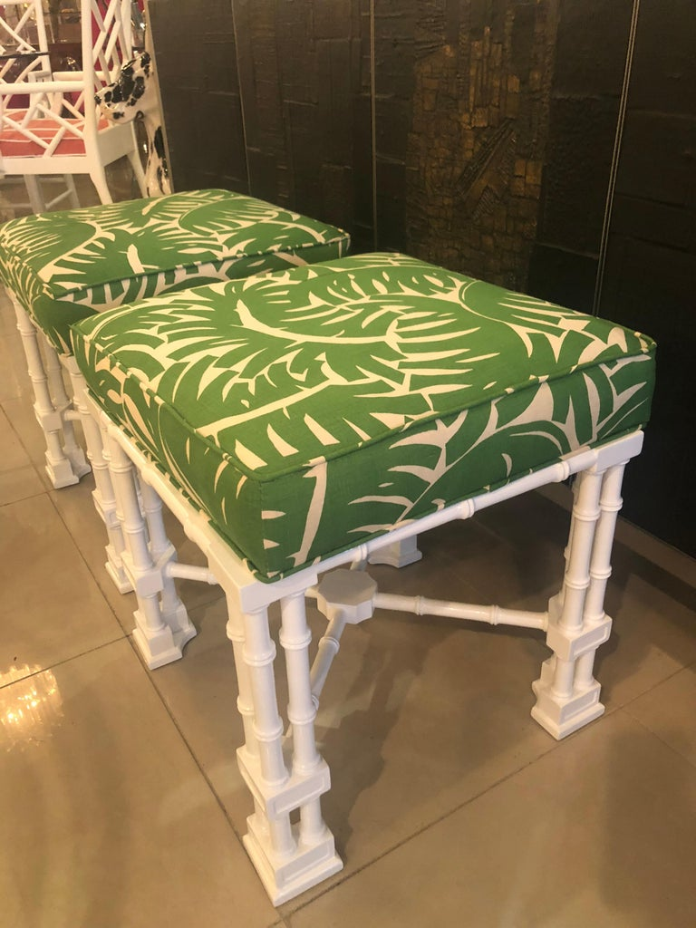 Late 20th Century Vintage Pair of Faux Bamboo White Lacquered Palm Tree Upholstered Stools Benches