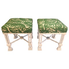 Vintage Pair of Faux Bamboo White Lacquered Palm Tree Upholstered Stools Benches