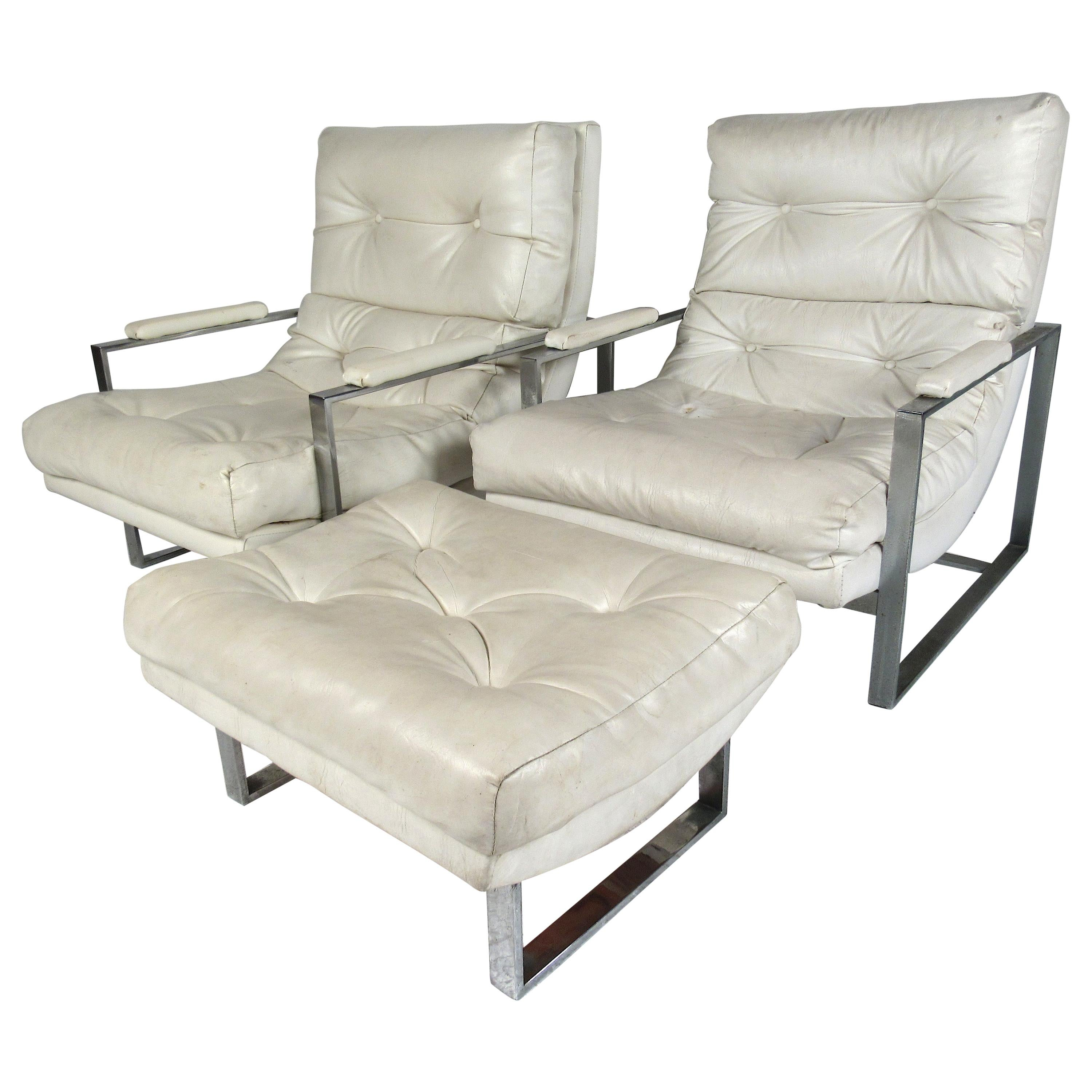 Vintage Pair of Flat Bar Chrome and Vinyl Lounge Chairs