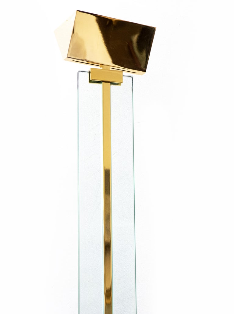 Pair of Floor Lamp is an original Contemporary Design Artwork realized by Gianfranco Frattini (Padua, 1926 - Milan, 2004) in the 1970s  Made in Italy, brass and Crystal by Relco Design.  Dimensions: 188 x 40 x 50 cm.   Both are in very good