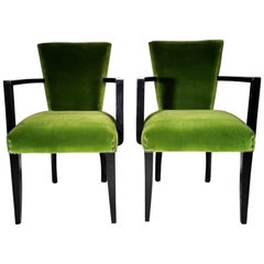 Vintage Pair of French Chairs with Arms Upholstered Velvet Rubelli