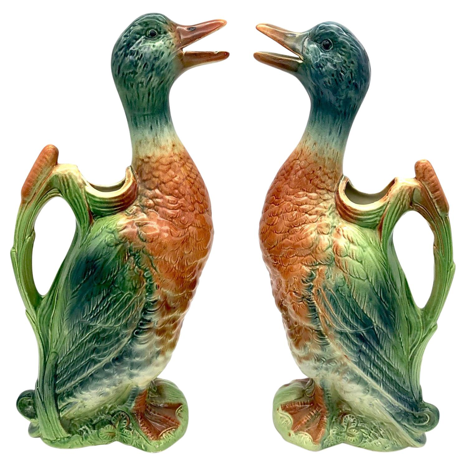 Vintage Pair of French Duck Water Pitcherts Jugs St. Clement Ceramic Faience