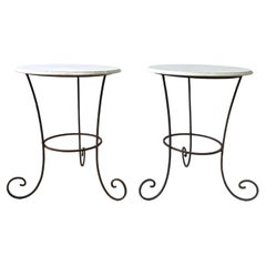 Vintage Pair of French Forged Iron Side Tables with White Marble Tops