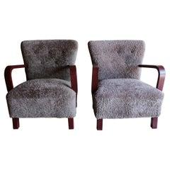 Vintage Pair of Fritz Hansen Chairs in Sheepskin, Circa 1950