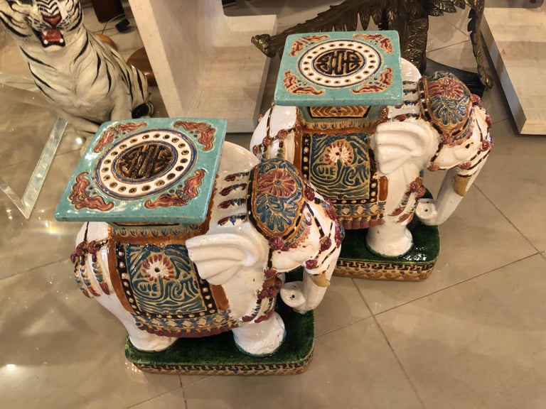 Vintage pair of elephant garden stools stands, side tables. No chips or breaks.