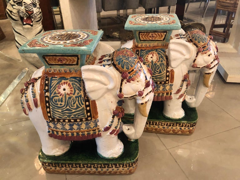 Hollywood Regency Vintage Pair of Garden Elephant Stools Stands Side Tables For Sale