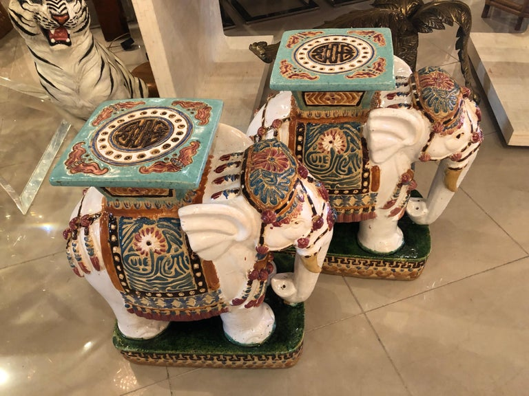 Vietnamese Vintage Pair of Garden Elephant Stools Stands Side Tables For Sale