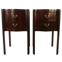 Vintage Pair of Georgian Mahogany Serpentine Nightstands or End Tables