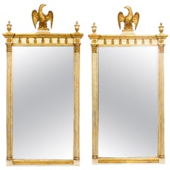 Vintage Pair of Gilded and Cream Painted Georgian Revival Mirrors, 20th Century