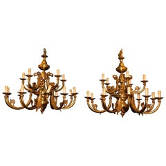 Vintage Pair of Gilt Bronze Chandeliers, Many Arms Lights, 1930s, Italy