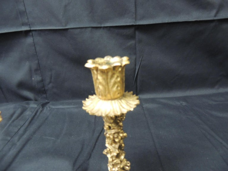 Unknown Vintage Pair of Gold Candlesticks with Elaborate Roses and Flowers For Sale
