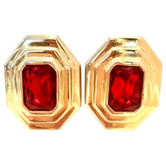 Vintage Pair Of Gold & Ruby Art Glass Earrings By, Diva