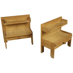 Vintage Pair of Guillerme et Chambron, Nightstands in Oak, France, 1960s