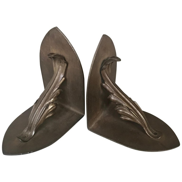 Vintage Pair of Handcrafted Metal Bookends with Meaningful Symbolic Leaves For Sale