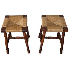 Vintage Pair of Handcrafted Wood and Rush Seat Country House / Provencial Stools